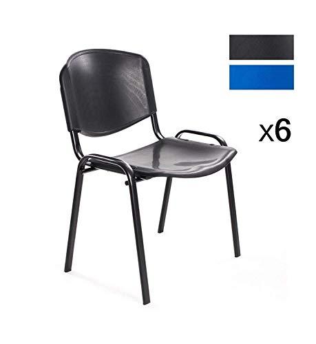 Notek Srl Set di 6 sedie per Sala d'attesa Ufficio riunione Meeting, impilabili in plastica (Nero)
