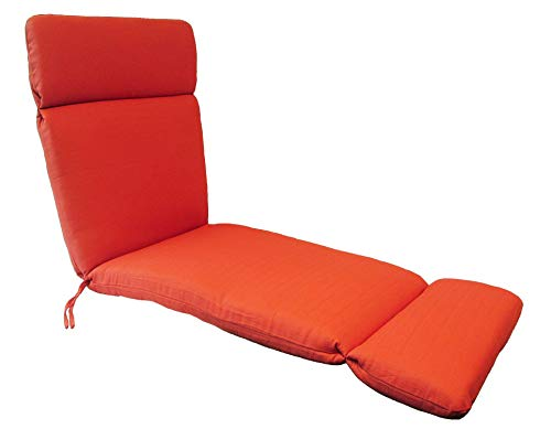 Suntastic Indoor/Outdoor Coral Orange Textured Chaise Lounge Chair Cushion for Patio Furniture