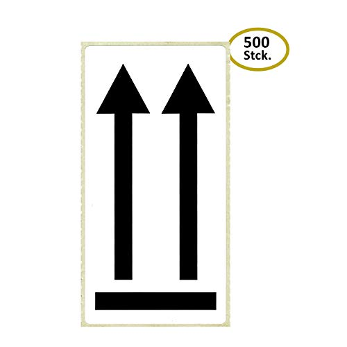BT-Label 500 Warnaufkleber 10,2 x 4,8 cm Doppelpfeil selbstklebende Warnetiketten Pfeile Symbol hier oben Aufkleber Versandaufkleber Etiketten gut sichtbar