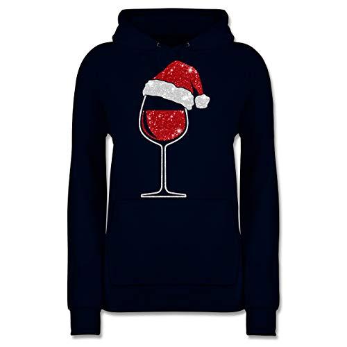 Weihnachten & Silvester - Weinglas mit Weihnachtsmütze - XS - Navy Blau - Statement - JH001F - Damen Hoodie und Kapuzenpullover für Frauen