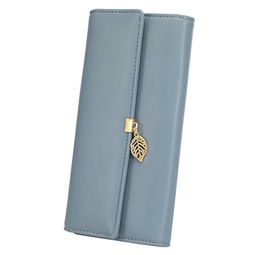 Geldbörse Damen PU Leder, Einfarbiges Portemonnaie Damen, Elegant Damen Geldbeutel portmonee mit vielen Kartenfächer und Kleingeldfach, RFID Brieftasche, Blau
