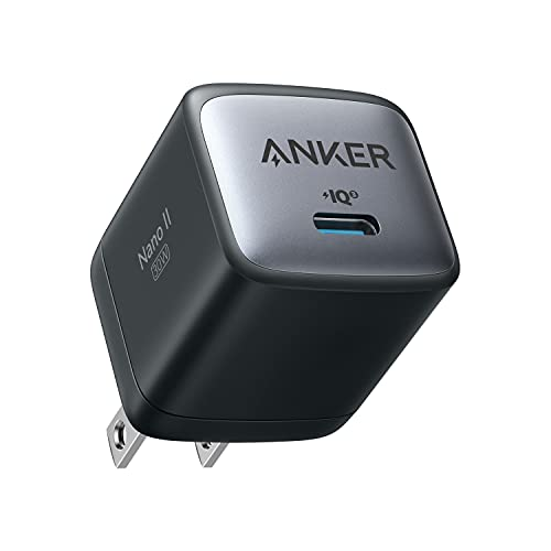 Anker Nano II 30W (PD 充電器 USB-C)【独自技術Anker GaN II採用/PD対応/PSE技術基準適合 】MacBook PD対応 Windows PC iPad iPhone Galaxy Android スマートフォン ノートPC 各種 その他機器対応 (ブラック)