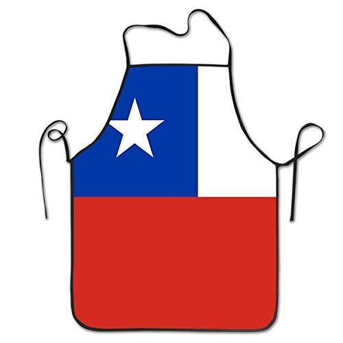 Pag Crane Delantal Unisex Bandera chilena Overlock Durable Lavable Ajustable Delantal para Cocina Madre Regalo Cocina Hornear Restaurante