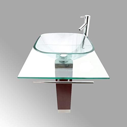 Renovator's Supply 23 5/8' Bathroom Glass Counter Vessel Pedestal Sink Vanity Clear Tempered Glass Chrome Faucet Drain And Towel Bar Included Modern Retro Bohemia Design