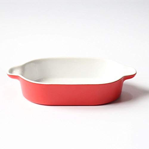 HARVESTFLY Mini Versterkte Keramische Rechthoekige Gekleurde Kleine Oven naar Tafel Bakplaat Ideaal voor Lasagne, Taarten, Casserole, Tapas en Meer Bright Red-01