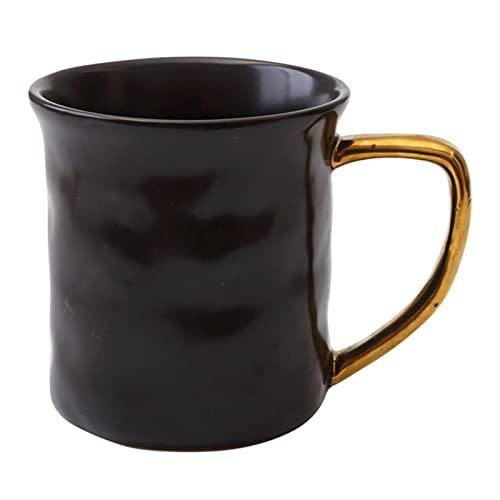 Taza Mug Café Tazas Blancas Negras De Cerámica Mate Con Mango Dorado Breves Tazas De Café Té Leche Agua Cocina Oficina Vasos Decoración Del Hogar Regalo