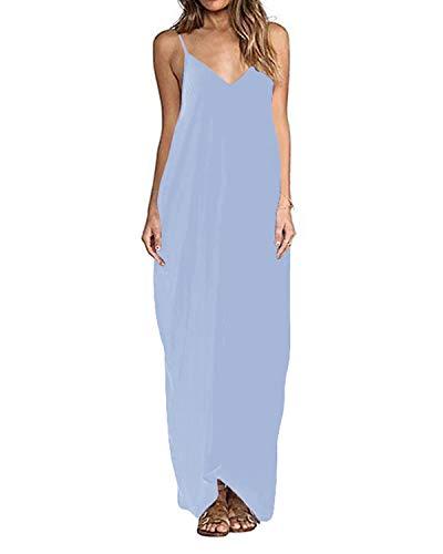 ZANZEA Maxikleid Damen Einfarbig Ärmellos Lange Sommerkleid V-Ausschnitt Casual Strandkleid mit Träger Blau EU 36