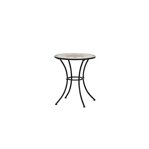 Siena Garden tafel Stella, onderstel zwart, tafelblad in mozaïek-look ø 60 x 71 cm zwart