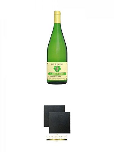 Antoine Heinrich Elsässer Edelzwicker AC 2009 Frankreich 1,0 Liter + Schiefer Glasuntersetzer eckig ca. 9,5 cm Ø 2 Stück