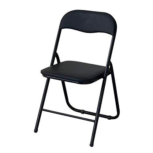 QIDI Chaise Pliante Chaises Pliantes Cuir Métal Moderne Simplicité Ergonomique Design Pliable Bureau Ménage - Bleu Noir (Couleur : Two Black)