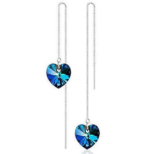 Pendientes de corazón Drop Dangle Shining Aquamarine Hecho con cristales Swarovski Plata de ley 925 Pernos libres de alérgenos para mujeres Damas