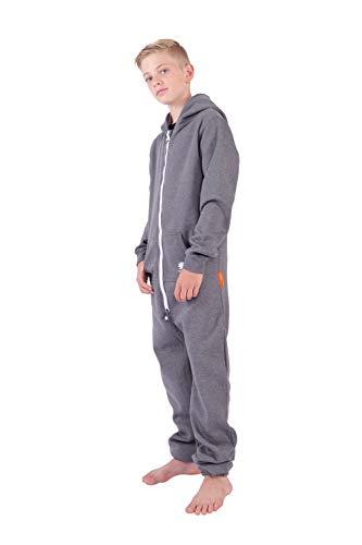 O'Poppy Kinder Jumpsuits Jungen Mädchen Overall Onsie Anzug mit Zwergen Kapuze (158-164, Dunkelgrau)
