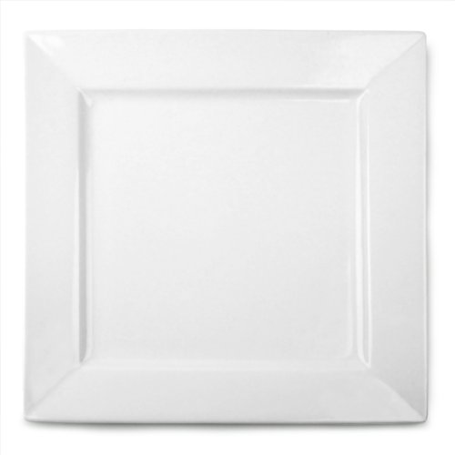 Royal Genware Square Plates 26cm - Pack of 3 | 10.25inch Dinner Plates, White Plates, Porcelain Plates | Commercial Quality Tableware by Royal Genware