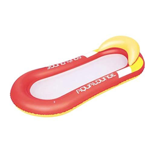 PVC Summer Floating Row Hamaca Cama Mesh Mesh Plegable portátil Natación Inflable Playa Water Lounge Pool - Rojo