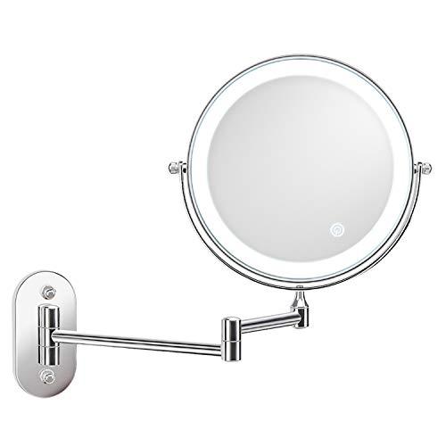 alvorog Specchio Ingranditore da Trucco con Luce LED, Lente d'Ingrandimento 5X,Specchio...