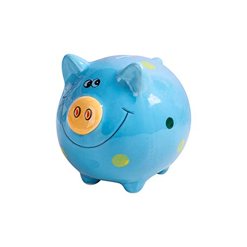 JYPHM Ceramic Piggy Bank for Kids Coin Bank for Boys and Girls Unique Birthday Gift Nursery Decor Piggy Banks Blue (5x5x4inch)