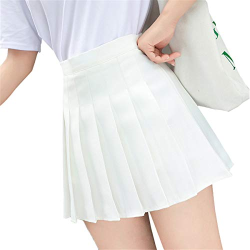 Damen Mädchen Hoch Taillierte Plissee Skater Tennis Schule Uniform Röcke Plaid Miniröcke (Weiß, XS)