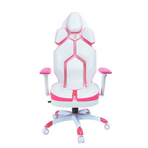 Silla Gaming, Oficina Escritorio Silla con Ruedas Sillas De Juveniles, PC Despacho Ergonomica Chair, SillóN Reclinable Giratorio Elevable Ajustable De 130 °, Respirable,Blanco