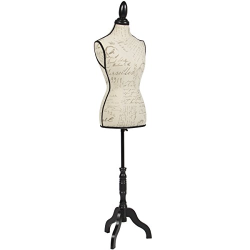 Best Choice Products Female Mannequin Torso Display w/Wooden Tripod Stand, Adjustable Height, Designer Pattern - Beige