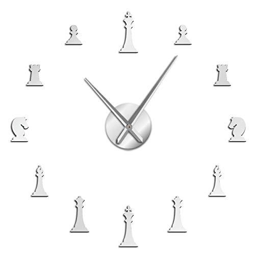 YQMJLF Reloj Pared DIY 3D Grande Piezas de ajedrez 3D Rey Caballero Juego DIY Reloj de Pared Mudo Pegatinas de ajedrez Reloj Jugador de ajedrez Regalos Salon Decor casa Navidad Regalo Plata