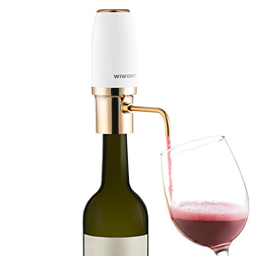 WIWONEY Aireador y vertedor eléctrico de Vino, Decantadores automático Inteligente, dosificador Recargable con Cable Micro USB