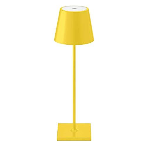 SIGOR Nuindie - Dimmbare LED Akku-Tischlampe Indoor & Outdoor, aufladbar mit Easy-Connect, 24h Leuchtdauer, gelb