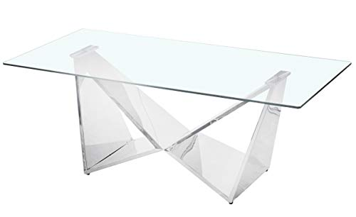 Menzzo Table Basse, INOX, Argent, L120 x P60 x H45 cm Épaisseur Verre 8 mm