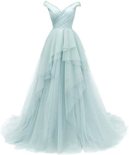 SongSurpriseMall Brautkleider Lang Off Shoulder Abendkleider Tülle Damen Rückenfrei Party Prom Ballkleider Hochzeitkleid mit Schleppe Minze EU48