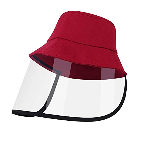Kids Hat with Protective Face Shield, Anti Spitting Protective Fisherman Cap with Clear Facial Shield Windproof Dustproof Sand Proof (Red)
