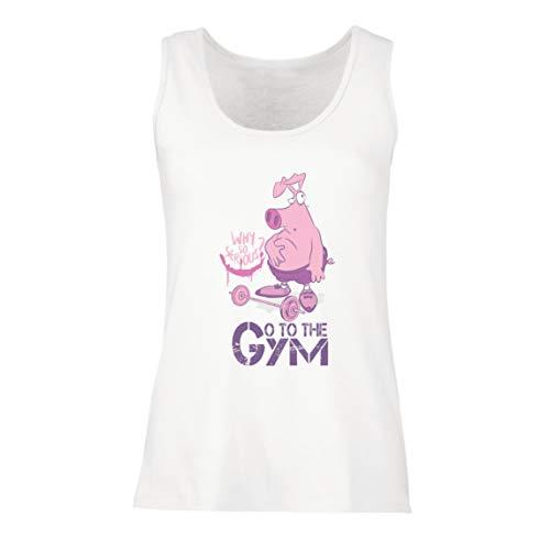 lepni.me Camisetas sin Mangas para Mujer IR al Gimnasio Funny Workout Fitness Entrenamiento con Pesas Eslogan (XX-Large Blanco Multicolor)