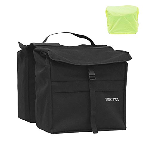 Vincita Top Load Double Pannier Water Resistant Cycling Side Bags - with Rain Cover, Large, Carrying Handle, Reflective Spots - Bike Rack Carrier Saddle Bag - Bicycle Accessories (Black)