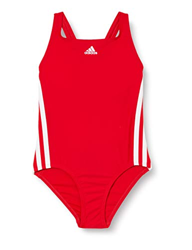 adidas Fit Suit 3S Y, Costume da Nuoto Bambina, Scarlet/White, 1314