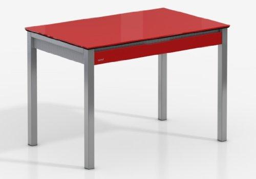 Mesa Extensible Camel - Encimera Cristal Rojo Brillo/Armazon Rojo/Patas Aluminio, 125X80 cms