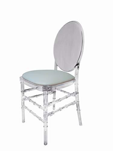 Lot de 4 chaises empilables Transparentes avec Assise en Vinyle Blanc