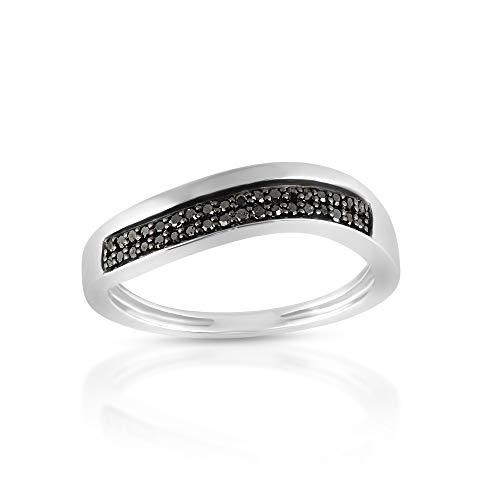 Anillo de diamante negro, anillo apilable de media eternidad, anillo de diamante de plata de ley 925, anillo de boda de eternidad negra, anillo de diamante pavimentado