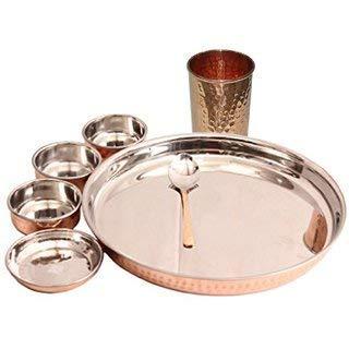 TreegoArt Juego de vajilla de acero de cobre Thali, cuencos, plato halwa, cuchara, cristal, estilo tradicional, 7 piezas, diámetro de Thali 33 cm