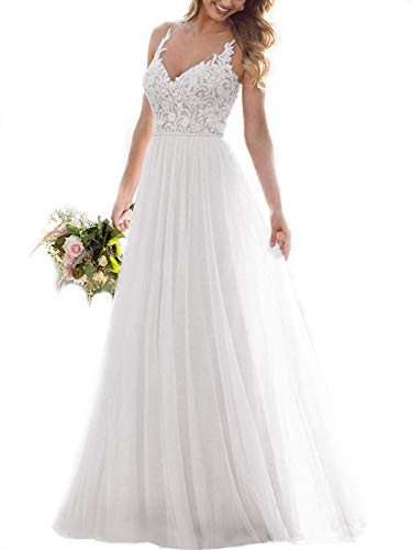 Tulle Lace Wedding Dresses for Bride Spaghetti A Line V-Neck Long Illusion Beach Bridal Gowns