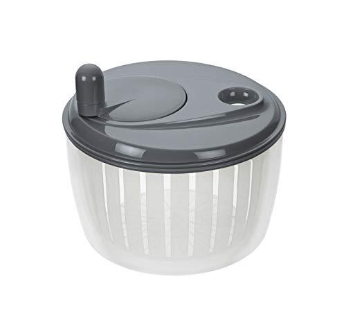 Lurch 10222 Salatschleuder mit Kurbel aus Kunststoff, Iron Grau/Weiß