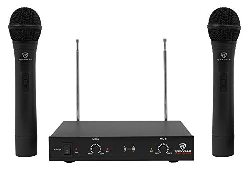 Rockville, 2 RWM1202VH VHF Wireless Dual Handheld Microphone System w/Mic Receiver v2