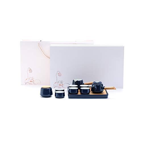 FVIEW Cerámica Juego de té japonés Retro Kung Fu Viaje Juego de té Chino Hecho a Mano Negro Material Bandeja de té de cuadrícula Tradicional Regalos Hechos a Mano del Ministerio del Interior