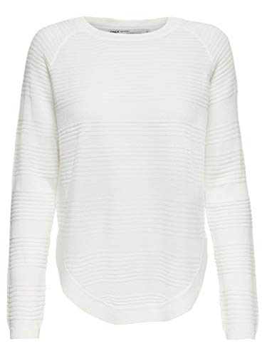 Only onlCAVIAR L/S Pullover KNT Noos Pull, Blanc(Whitecap Gray Detail:Melange), 42 (Taille Fabricant: Large) Femme