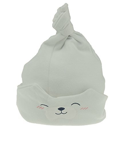 Glamour Girlz Baby Girls Boys Teddy Bear Soft Toy Sleep Beanie Hat Fold Up Fold Down from New-Born to 24 Months (White)