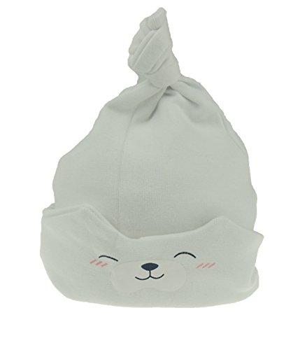 Bonnet de sommeil pour bébé fille garçon Ours en peluche Pliable de la naissance à 18 mois - Blanc - taille unique