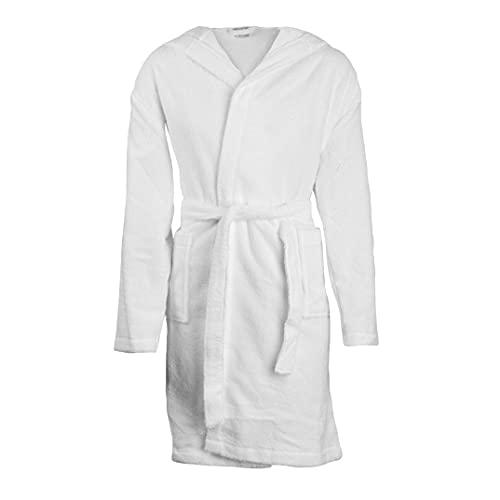 Herzbach Home Albornoz de mujer I con capucha I algodón, Blanco, S