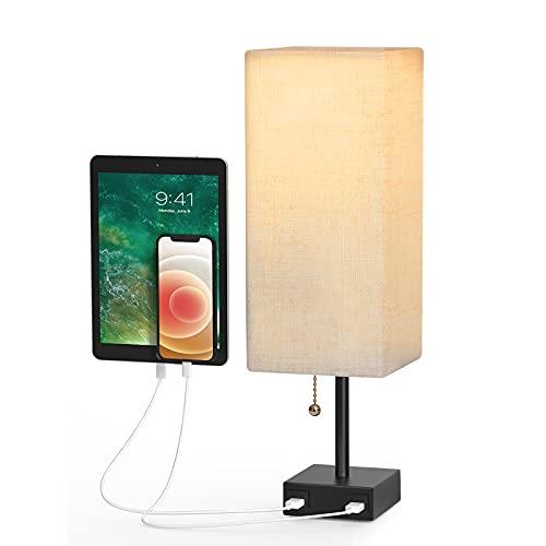 Lampada da Comodino in tessuto,Lampada da Tavolo con 2 Porte di Ricarica USB, Lampada da tavolo quadrata in legno massello