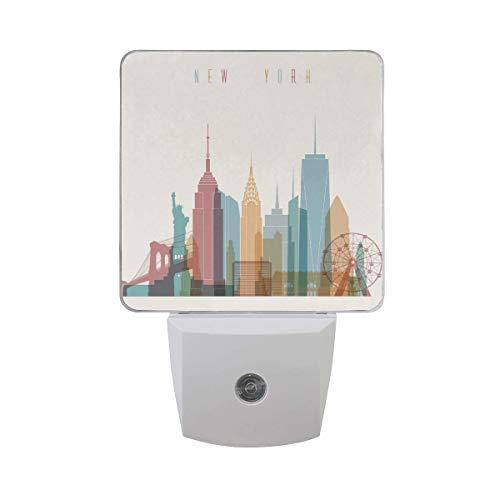 Night Light Morden New York City, El Sensor Automático Llevó La Lámpara De Luz Nocturna Hasta El Enchufe De La Oscuridad