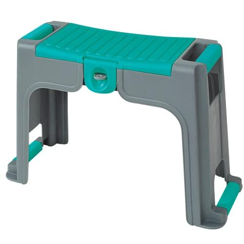 Greenmill GR6994 3 in 1 Gartenhocker mit abschließbarem Kleinteilefach Knieschützer Arbeitshocker Kniebank Sitz Werkzeugkasten Kunststoff