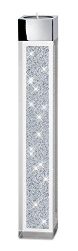My IMPLEXIONS Moderner Teelichthalter Pylon groß veredelt mit Swarovski Kristallen/Besondere Tisch-Dekoration