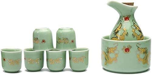 LYYF Japonés con Estilo de Vino de 8 Piezas con Olla de Calentamiento, Tazas de Manualidades de diseño de patrón de SsangYong, para fríos/cálidos/Calientes/Shochu/té 2123