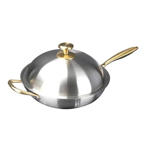 Gold Edelstahl Kochgeschirr 304 Wok Bratpfanne Küche Wok Pfanne mit Stahl Deckel 30/32/34 cm